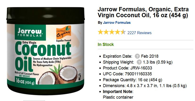 Jarrow Formula Extra Virgin Coconut Oil